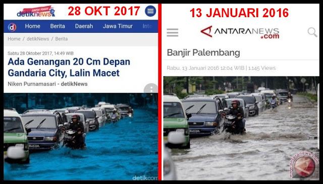 TERCYDUK! Detikcom Pakai Foto 2016 Banjir PALEMBANG untuk Berita 2017 Genangan Jakarta