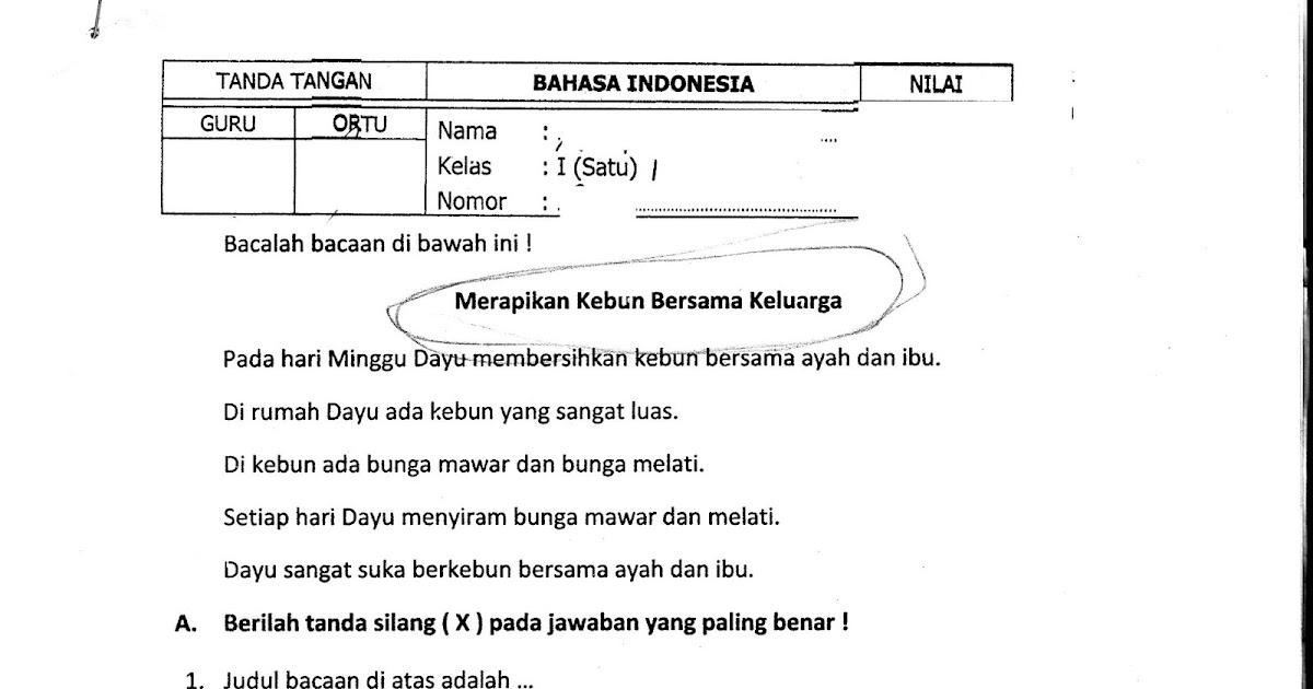 Contoh Soal Tkd Bahasa Indonesia Soal Tkd Bahasa Indonesia Kelas 3 Sd Blog Bahasa Indonesia