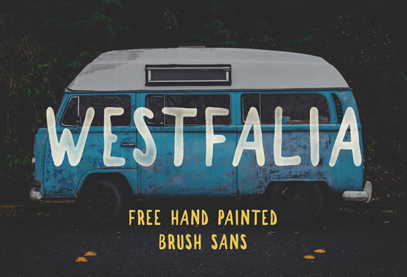 Westfalia free brush type font