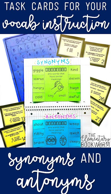 Task cards for antonyms and synonyms will make assessment a breeze! Three types of questions and interactive notebook pages are included!