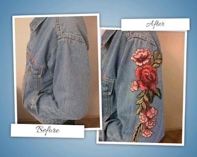 Kurtka jeansowa z naszywkami róże / Rose Embroidered Denim Jacket