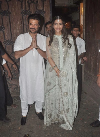 Sonam Kapoor and father Anil celebrating Diwali