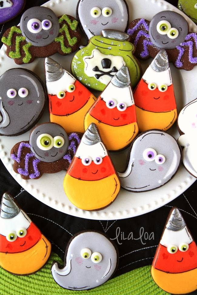 Brightly colored decorated chocolate sugar cookies for Halloween