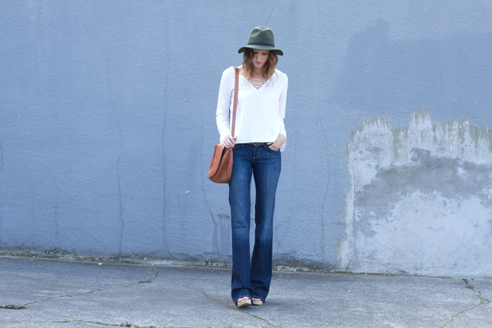 Vancouver Fashion Blogger, Alison Hutchinson, in 70s style trend