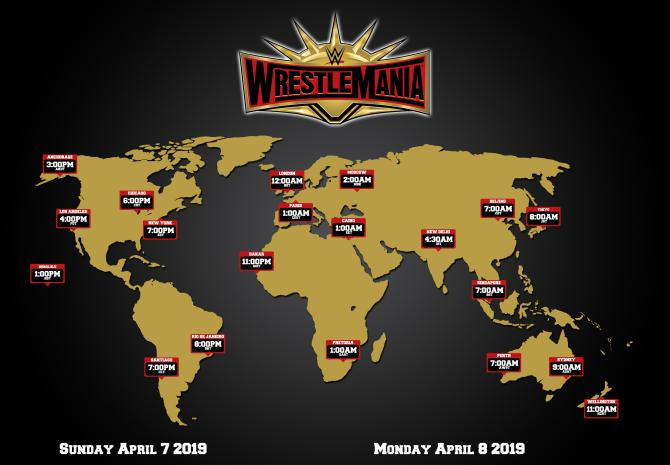 WrestleMania 35 live diffusion hours around the world. StrengthFighter.com