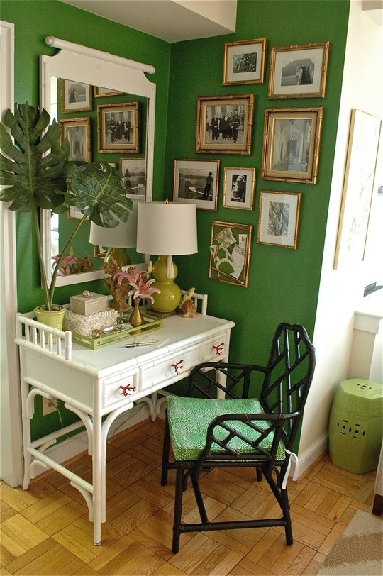 Stunning The walls here are a deeper green u and fabulous in the context of the bamboo and wall art