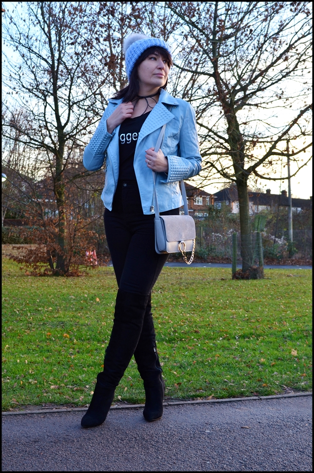 Dresslily Blue Leather Jacket