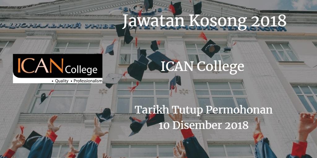 Jawatan Kosong ICAN College 10 Disember 2018