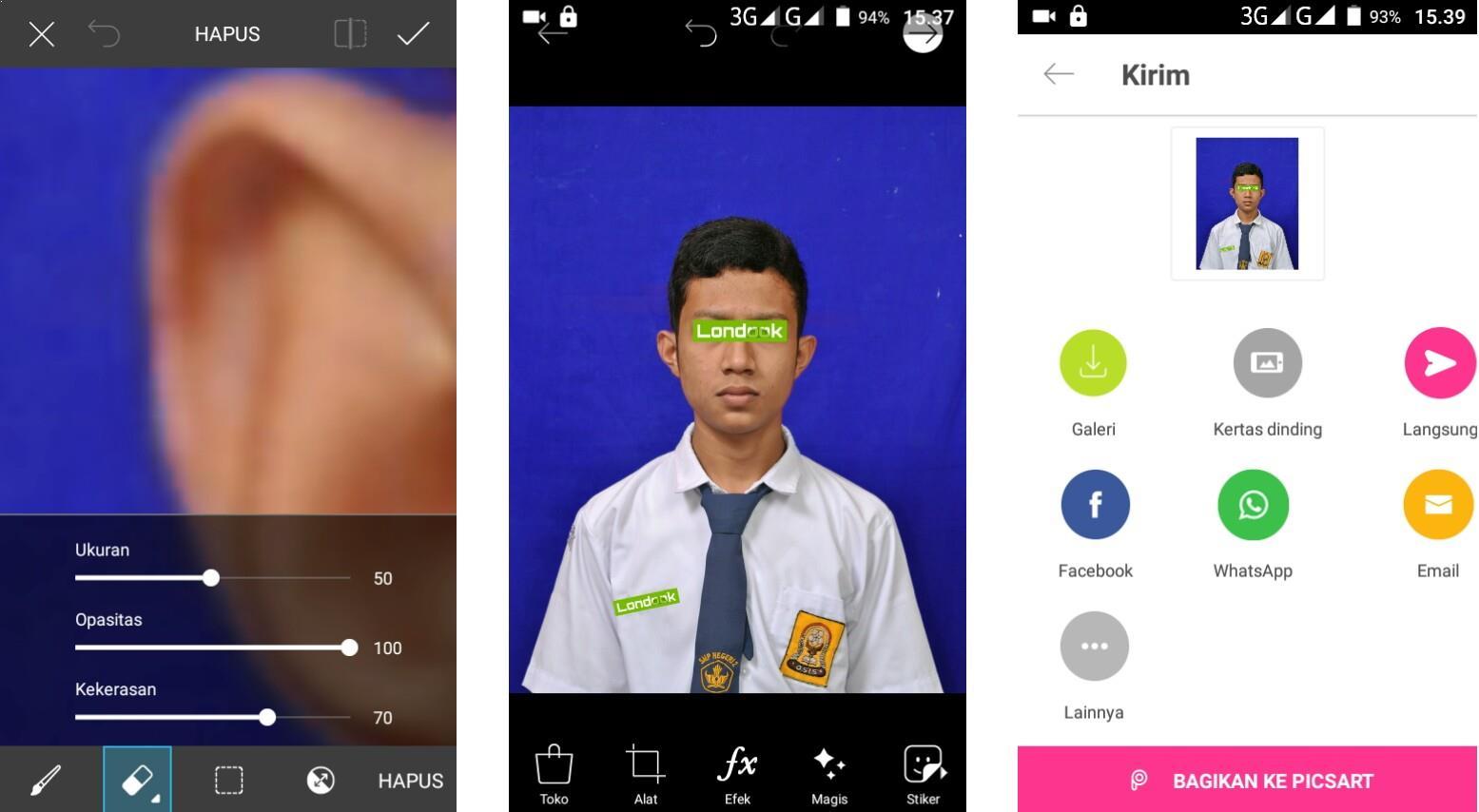 cara mengganti background foto di android