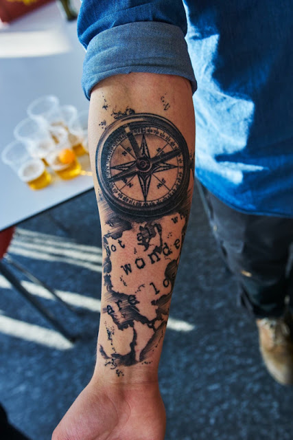 Colorful Compass Tattoo For Men