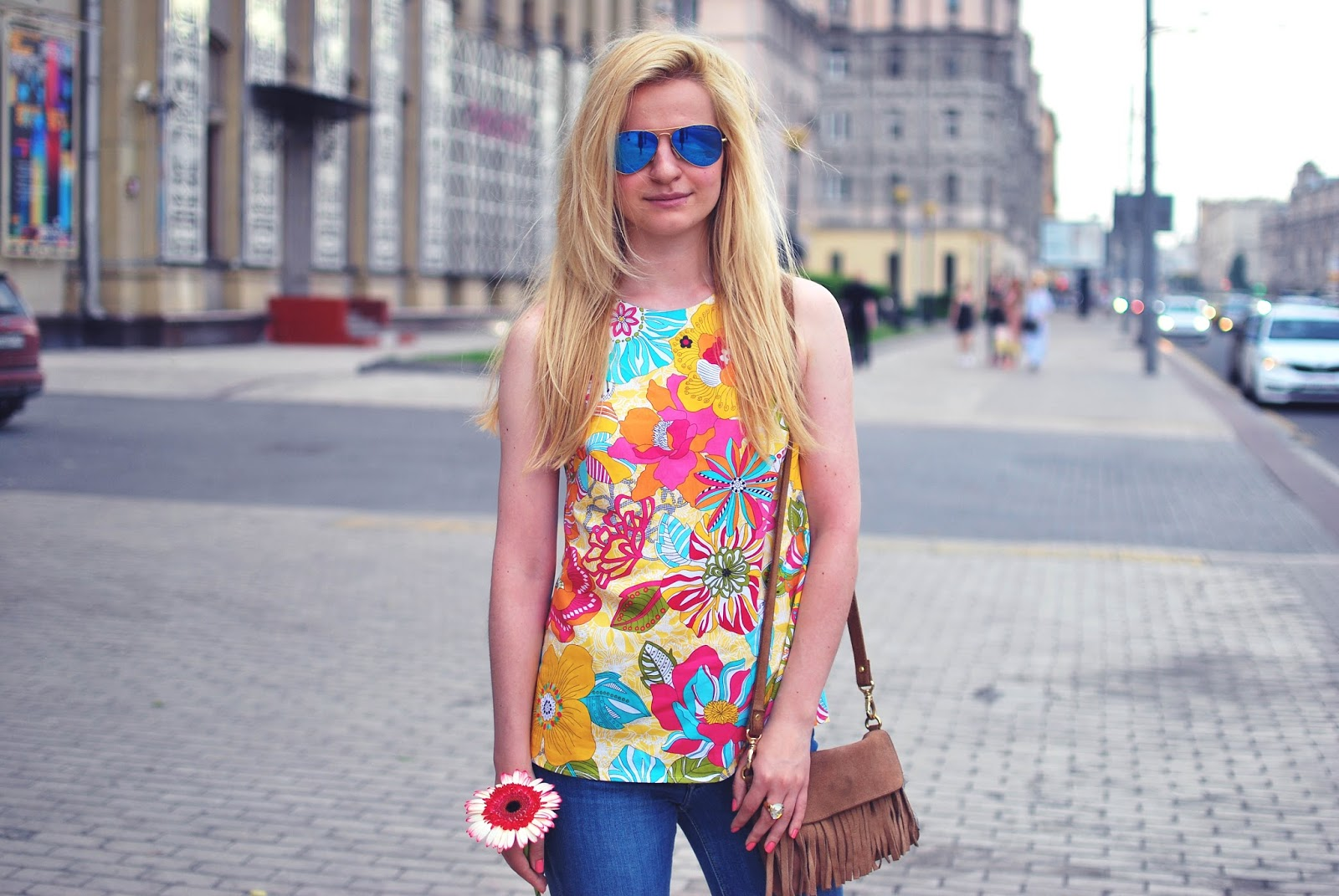 summer streetstyle, vintage top outfit, russian fashion blogger