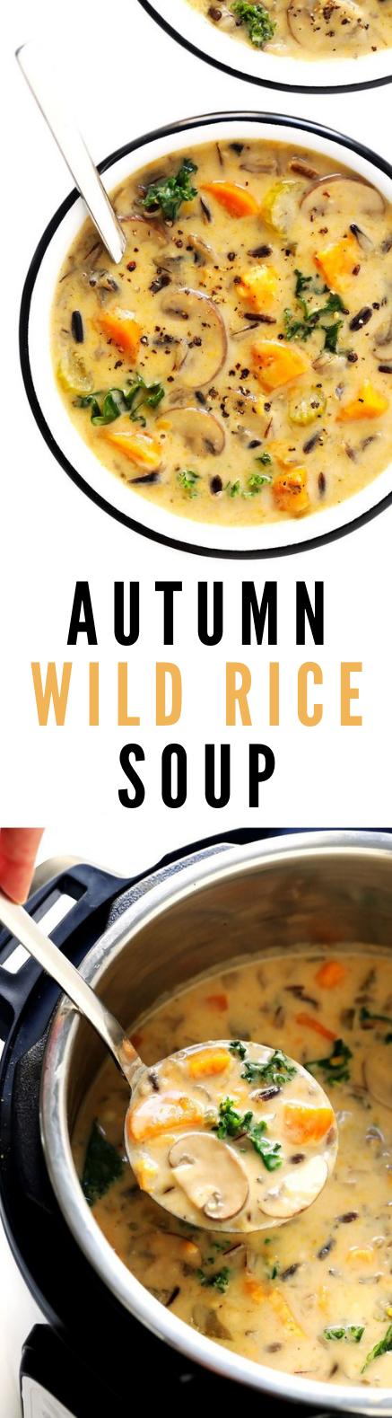 COZY AUTUMN WILD RICE SOUP #Vegetarian #Soup