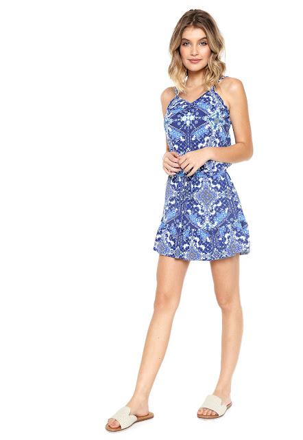 Estilo jovem Vestido Salsa Curto Estampado Azul