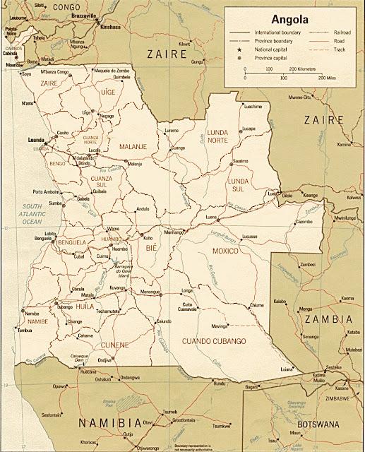 Gambar Peta Politik Negara Angola