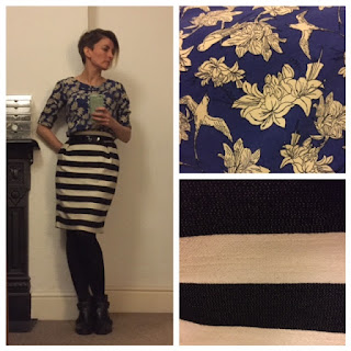 Floral top with block stripe skirt