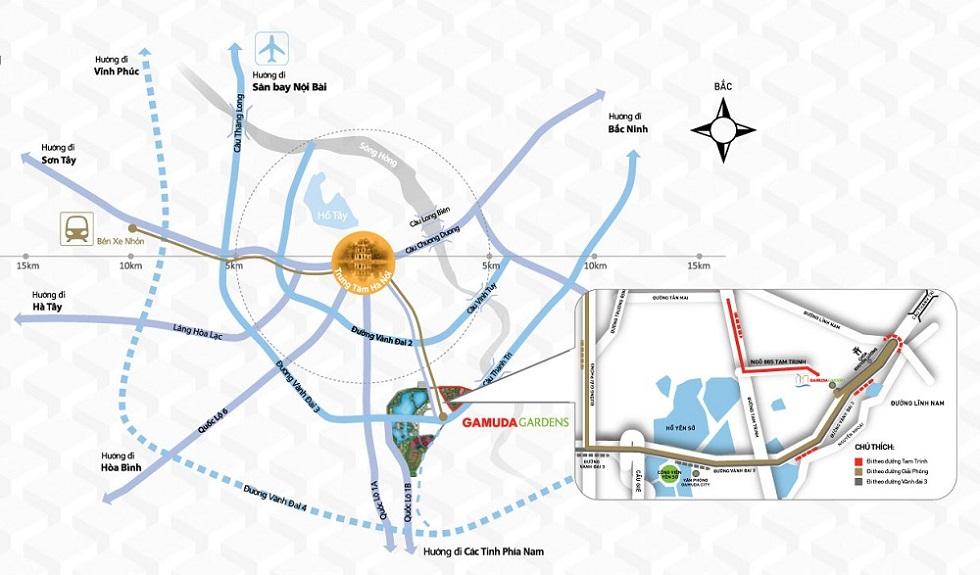 Các tuyến đường giao thông tới dự án Gamuda Gardens.