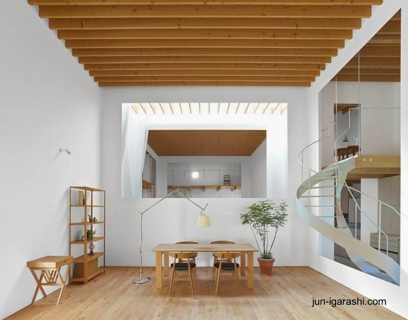 Vista del interior de la casa japonesa minimalista