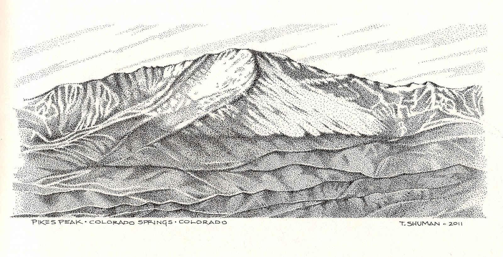 Unstringing the Bow: Pikes Peak Stipple Drawing