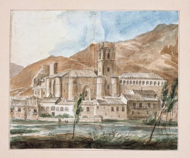 Dibujo del 'Monasterio de Santa María la Real de Nájera, La Rioja' - obra de Valentín Carderera y Solano - Museo de la Fundación Lázaro Galdiano (Inventario: 09772)