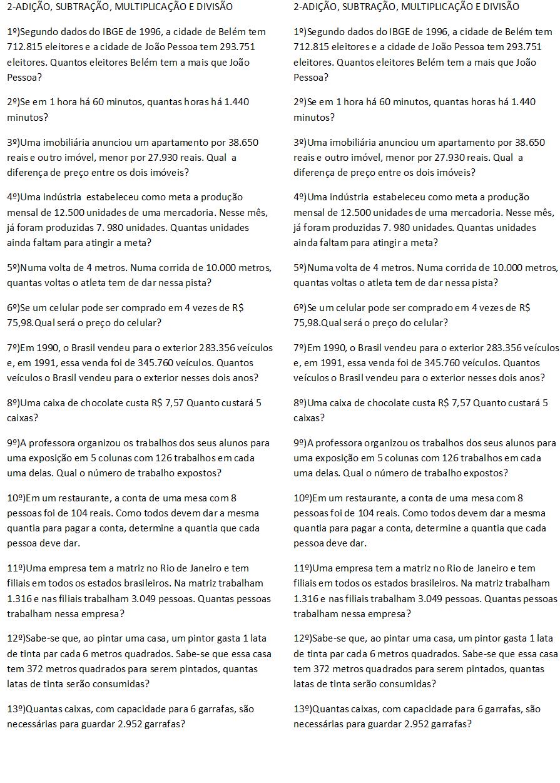 Bel Cardozo Problemas Envolvendo As 4 Operacoes 5º Ano Caderno