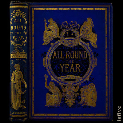 CA. 1885 ALL ROUND THE YEAR: A MONTHLY GARLAND BY THOMAS MILLER ~ ILLUSTRATIONS BY JOHN LEIGHTON ~ RARE ANTIQUE BOOK ~ STUNNING VICTORIAN FINE BINDING