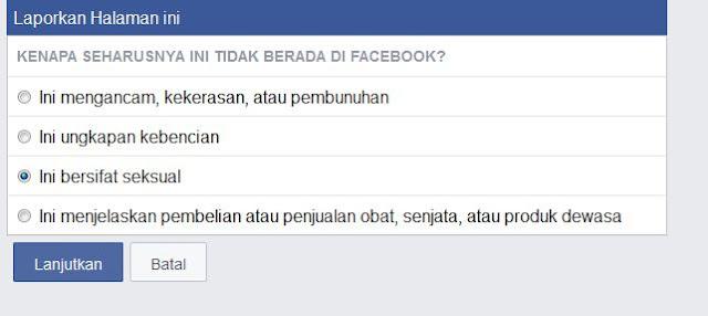 pertanyaan alasan dari facebook