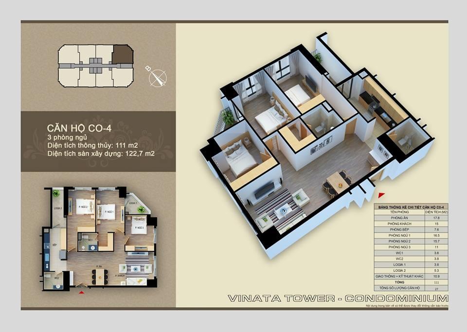 Thiết kế căn hộ C-04 Vinata Towers, 111m2 - 3PN,2VS