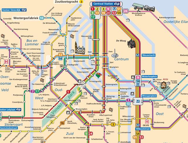 mapa transporte amsterdam del metro y tranvia