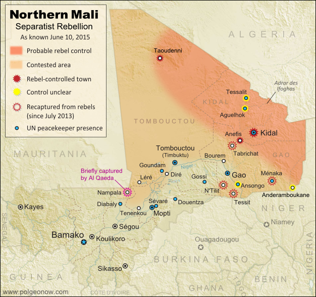 Map of territorial control in Mali as of June 2015. Includes separatist rebel control (CMA, MNLA, MAA, HCUA) and locations of UN peacekeeper (MINUSMA) deployments, as well as the location of a brief takeover by Al Qaeda in the Islamic Maghreb (AQIM).