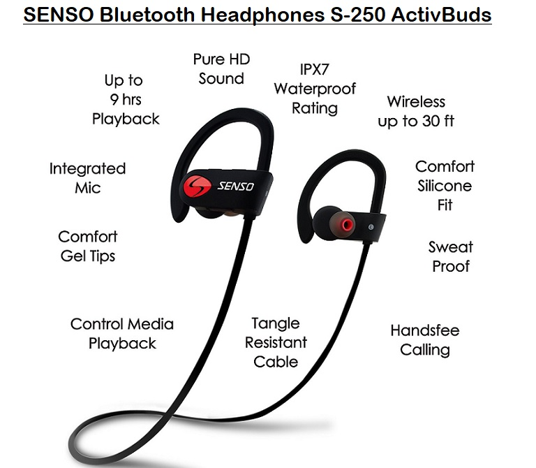 SENSO Bluetooth Headphones S-250 ActivBuds