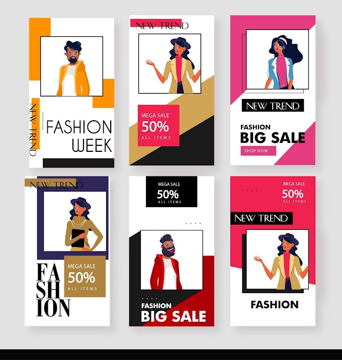 Fashion sale posters models decor modern simple design Free vector