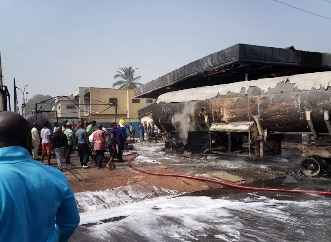News In Pictures: Shops, house, others razed as fuel tanker causes fire