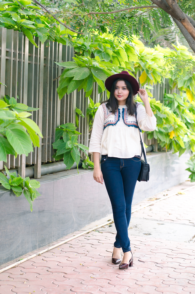 Bohemian Embroidered Blouse with Jeans Outfit