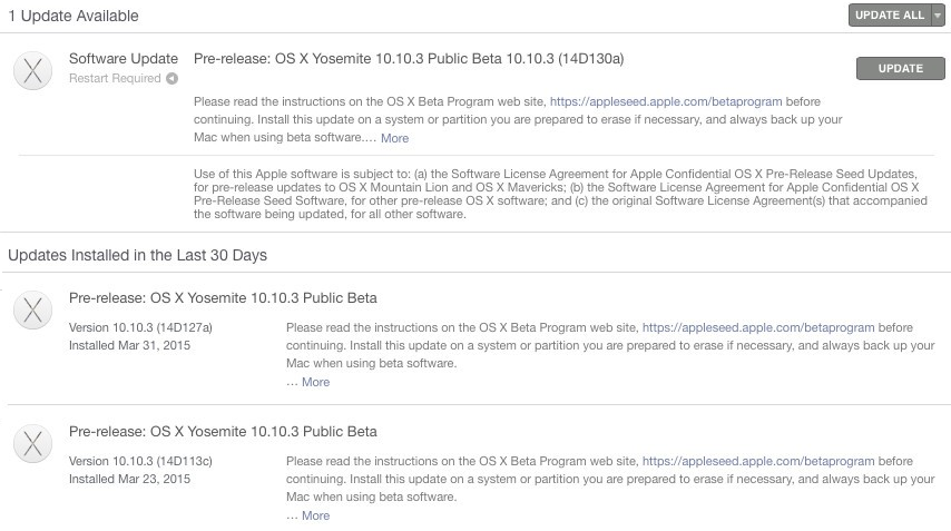 Mac OS X Yosemite 10.10.3 Beta 7 (14D130a)