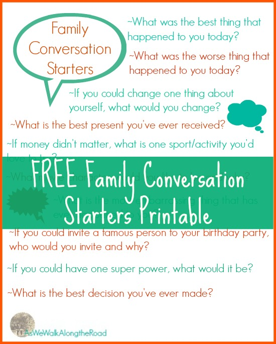 Free printable conversation starters chart