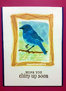 Watercolor Bird in Frame, Hero Arts