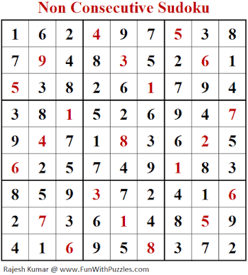 Answer of Non Consecutive Sudoku Puzzle (Fun With Sudoku #289)