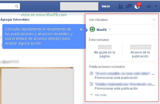 Ver tus páginas en el inicio de Facebook - MasFB