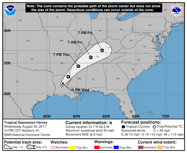 National Hurricane Center Tropical Depression Harvey Projected Path