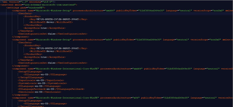 Tập tin trả lời mẫu Autounattend.xml và Unattend.xml cho Windows 10 version 1709
