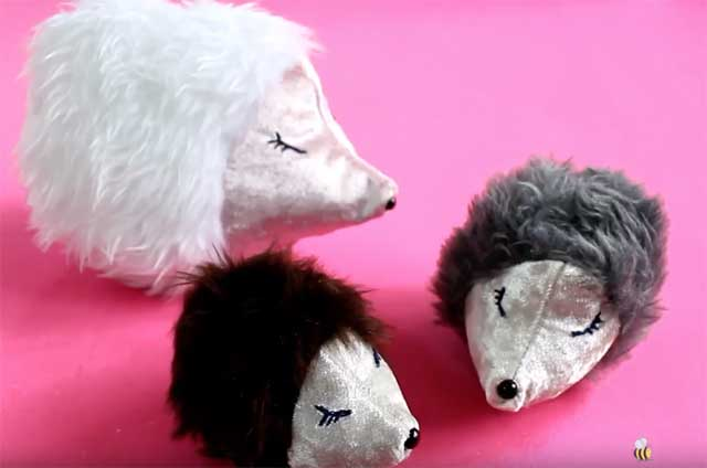 Learn how to sew a hedgehog softie. Free pattern & tutorial by Sewing Bee Fabrics.