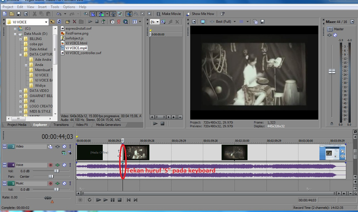 Cara Memotong Video Pada Program Sony Vegas Movie Studio