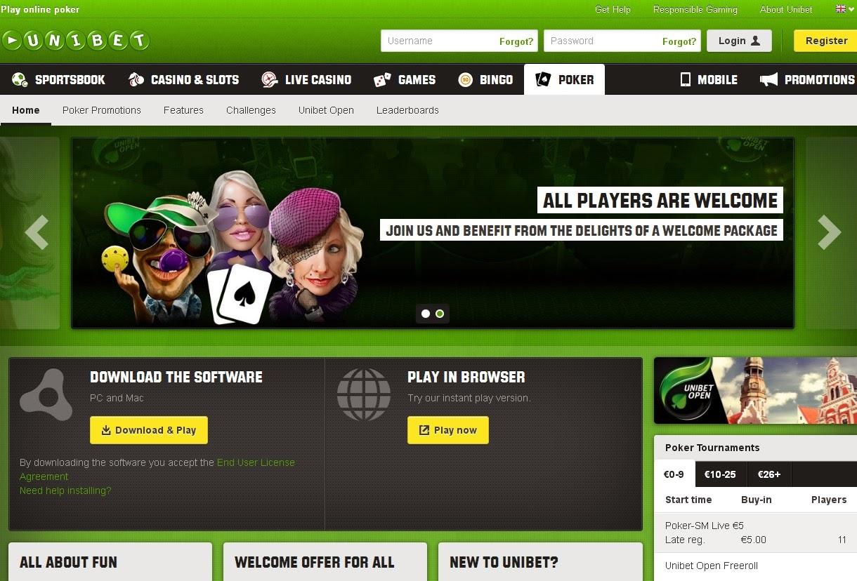 Unibet Poker Screen
