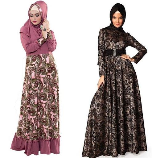 gaun pesta muslim batik terbaru 2017/2018