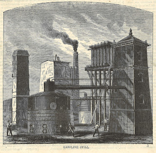 Historic lithograph of gasoline still and manufacturing area at the Astral Oil Works plant
