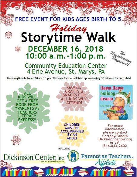 12-16 Holiday Storytime Walk.