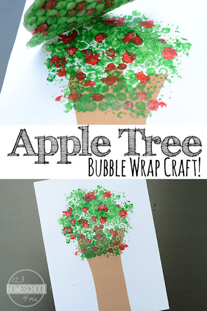 Apple Tree Bubble Wrap Prints - kids of all ages will love making this apple crafts with bubble wrap! Perfect for a is for apple, back to school craft, September crafts, and more for toddler, preschool, prek, kindergarten, first grade, 2nd grade