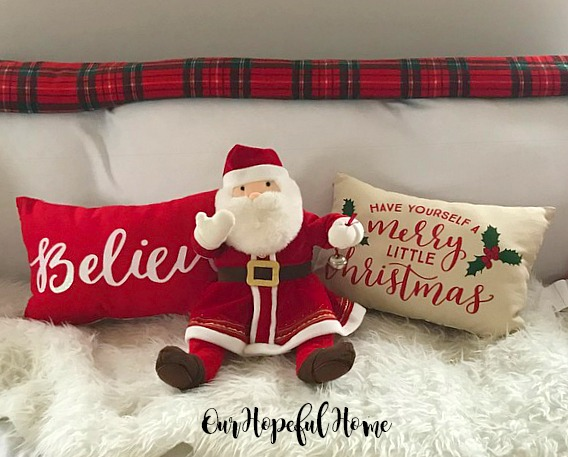Believe pillow Have Yourself A Merry Little Christmas pillow Target placemat Polar Express Santa plush