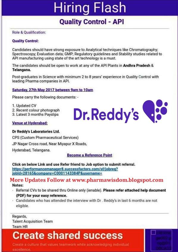 PHARMA WISDOM: Dr Reddy's Laboratories Ltd: Walk-In