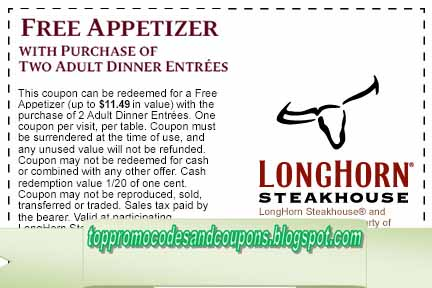 photo regarding Longhorn Coupons Printable called Cost-free Promo Codes and Coupon codes 2019: Longhorn Steakhouse Coupon codes
